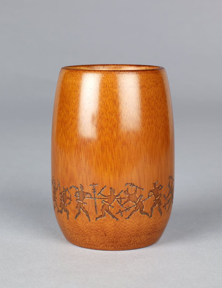 Lacquerware Cup with Design Derived from Chien Basin with Copper-inlaid Battle Scenes